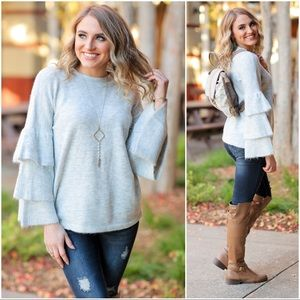 Heather Gray Tiered Sleeve Soft Fuzzy Sweater